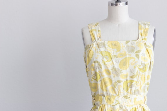 50s Cotton Dress . Yellow Floral Dress with Pocke… - image 3