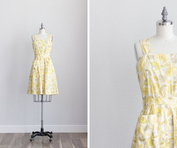 50s Cotton Dress . Yellow Floral Dress with Pocke… - image 1