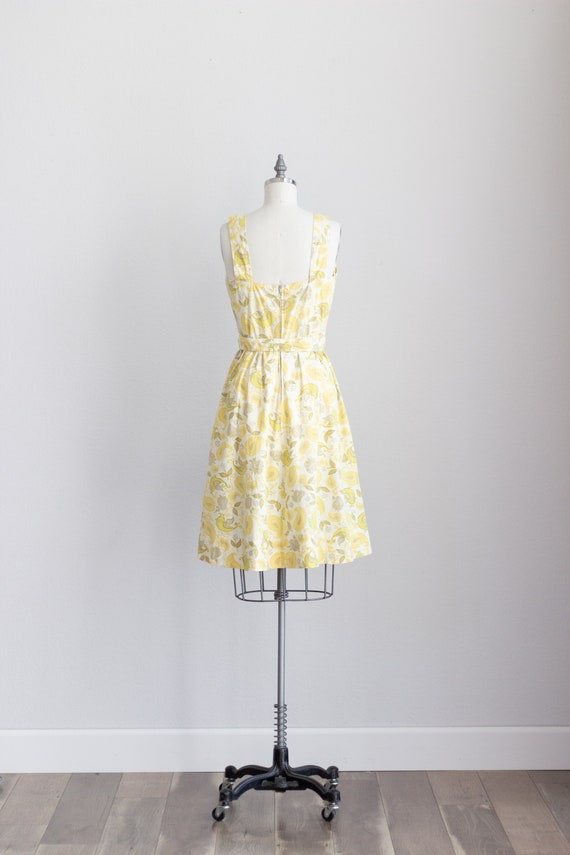 50s Cotton Dress . Yellow Floral Dress with Pocke… - image 8