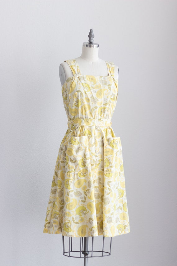 50s Cotton Dress . Yellow Floral Dress with Pocke… - image 7