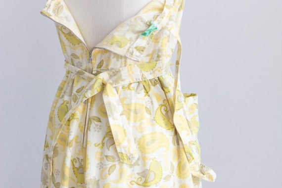 50s Cotton Dress . Yellow Floral Dress with Pocke… - image 10