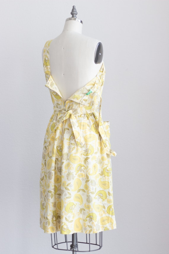 50s Cotton Dress . Yellow Floral Dress with Pocke… - image 9
