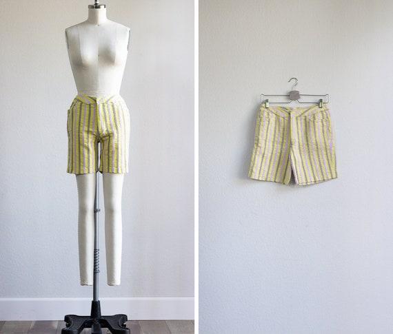 1950s Shorts . Yellow Stripe Bermuda Shorts . Vint