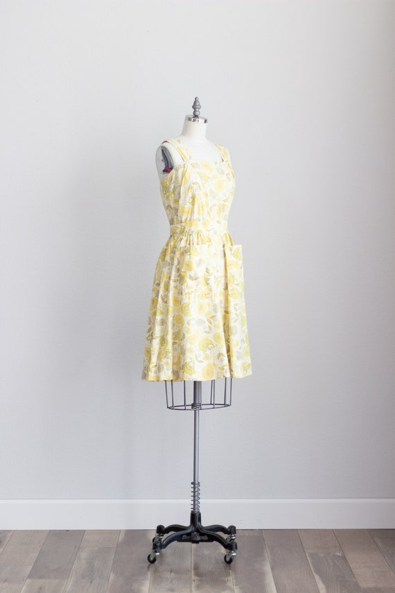 50s Cotton Dress . Yellow Floral Dress with Pocke… - image 4