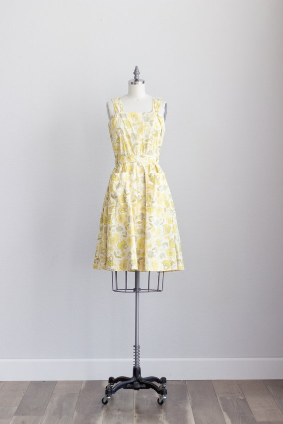 50s Cotton Dress . Yellow Floral Dress with Pocke… - image 2