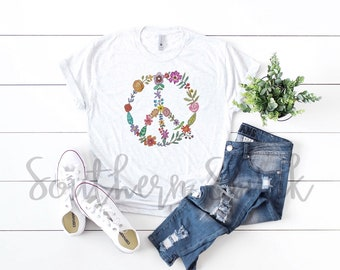93ecb813be82 Floral Peace Sign Short Sleeve Tee