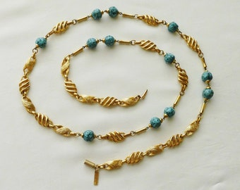Long necklace Sautoir Balenciaga vintage brass and speckled turquoise Baroque pearls