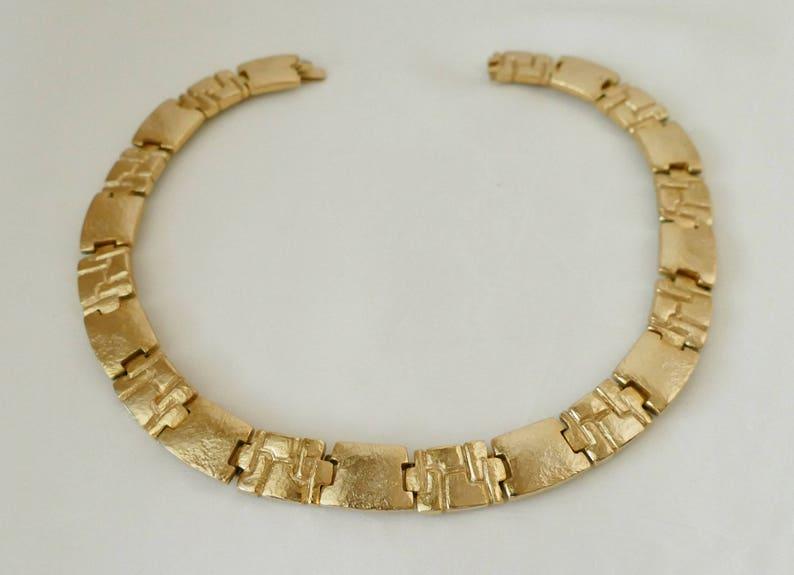 Helena Rubinstein Choker necklace vintage Golden brass