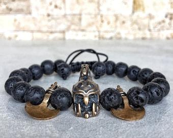 Spartan Bracelet, Helmet Bracelet, Warrior Bracelet, Axe Bracelet, Bracelet For Men, Knight, Gladiator Bracelet, Game of Thrones, Gift