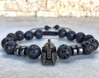 Mens Spartan Bracelet, Mens Lava Bracelet, Hematite Bracelet, Bracelet For Men, Protection Bracelet, Spartan Bracelet, Gladiator Bracelet