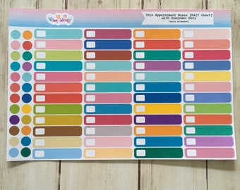 48 Thin Appointment Boxes (Half Sheet) REFORMATTED // planner stickers // blank label stickers