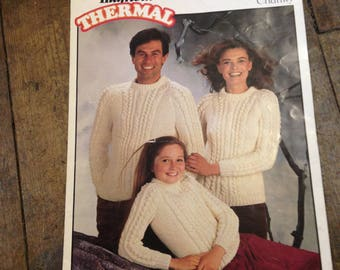 c11bb69284ab Vintage 1970 s Knitting Patterns Hayfield Thermal Chunky Aran Sweaters    Jumpers in Good Condition