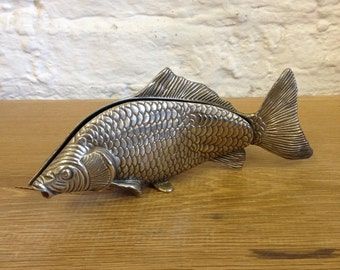 Vintage Collectible Modello Depositato Italian Silver Plated Koi, Carp Fish Napkin Holder.