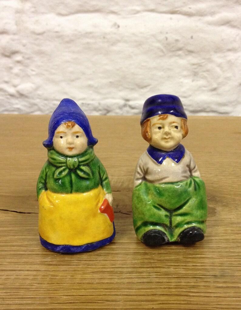 Vintage Pair of Dutch Man and Women (Married Couple) Salt & Pepper Pots   Cute Little Cruet Set