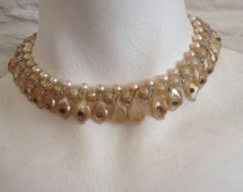 Vintage Unusual Cream / Yellow White Plastic / Bakelite Pearl Bead and Teardrop Choker / Short Necklace with Clasp Fixing,
