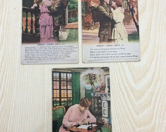 "Vintage Set of 3 WWI Sweet Heart Postcards. ""sweet jenny gray"" Made In Germany No. 4938.  Dated From Around the 1910's."