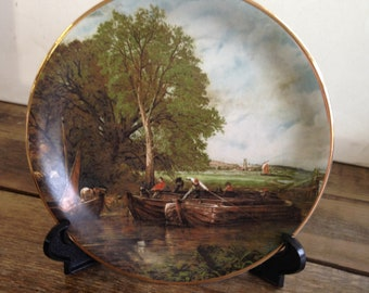 "Vintage Lindrick Pottery Plate – ""A View on the Stour"" -10"" Diameter – John Constable. In Very Good Condition."
