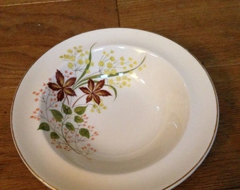 Vintage 1950's Yellow Floral Pattern Johnson Bros Dessert/Soup Bowls - in Good Condition