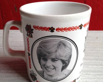 Vintage Kiln Craft Pottery Mug Of Charles & Diana Royal Wedding 1981 - Made In England And In Very Good Condition.
