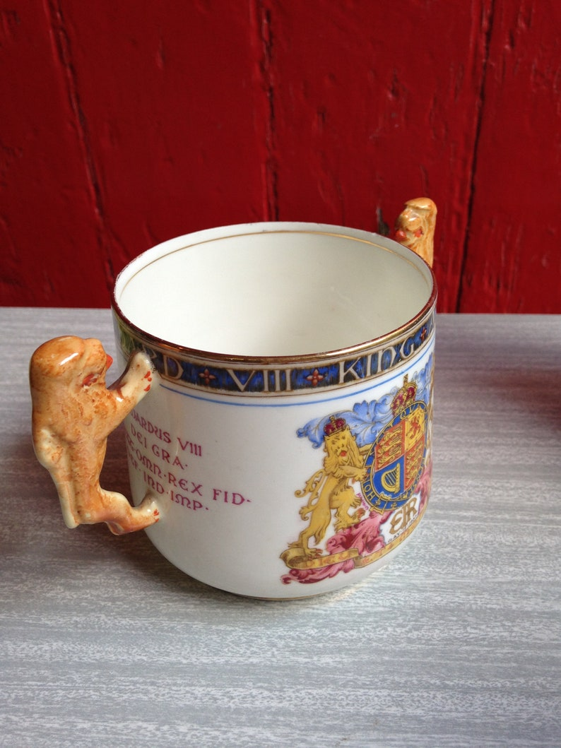 Vintage Double Lion Handle Paragon Mug King Edward VIII Coronation 1937 Rare Example  Sadly damaged could only be used as a display item