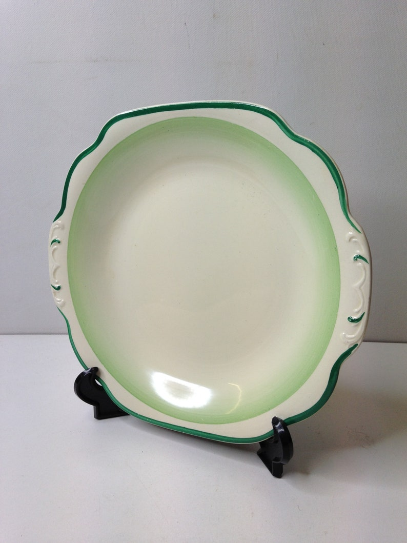 Vintage 1930/'s Unnamed Art Deco Handpainted Square Cake  Serving Plate Green Stripe Edge Design In Good Condition
