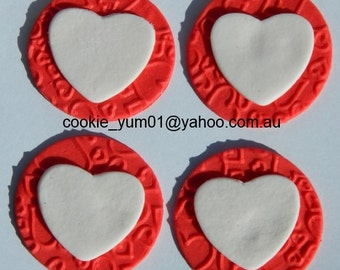 12 edible TEXTURED LOVE HEART embossed cake cupcake wedding topper decoration wedding anniversary birthday engagement valentine