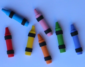 12 edible CRAYONS SCHOOL KIDS cupcake cake topper decorations wedding anniversary birthday art