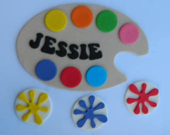 13 edible PERSONALISED NAME plaque PAINT pallette cake topper kit decoration art artist painter age icing decorations wedding birthday