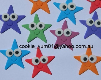 12 edible CUTE STARS EYES dora cake decoration topper gumpaste sugarcraft birthday wedding addiversary engagement baby shower christening