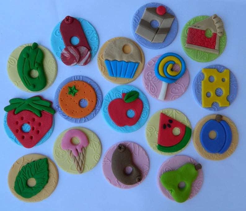 16 Edible HUNGRY CATERPILLAR Cupcake Toppers Decorations Fruit