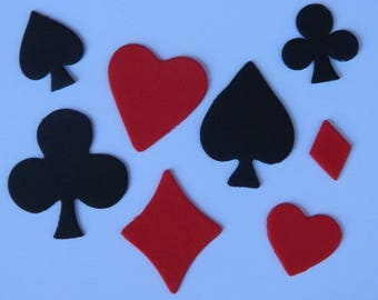 36 edible POKER SHAPES magic casino hearts clubs diamonds spades las vegas cake cupcake topper decoration wedding engagement birthday