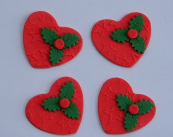12 edible CHRISTMAS HEARTS with HOLLY textured cake cupcake decoration novelty topper cute gift xmas party birthday holiday cookie