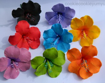 6 edible small HIBISCUS SUGAR FLOWERS tropical hawaiian cake cupcake toppers decorations party wedding anniversary birthday islands hawaii