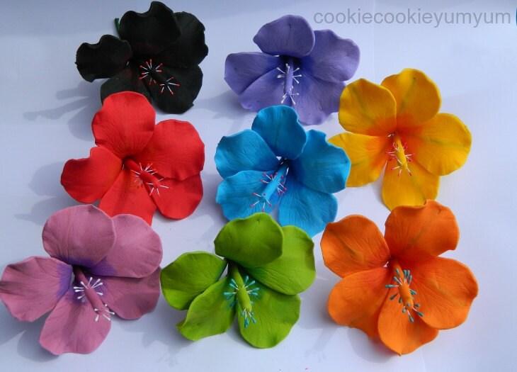 6 Edible Small Hibiscus Sugar Flowers Tropical Hawaiian Cake Cupcake