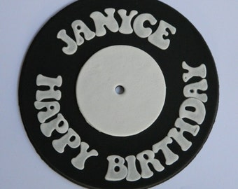 1 edible large PERSONALISED NAME RECORD vinyl plaque cake topper decoration age icing decorations wedding anniversary birthday engagement