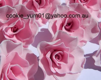 12 edible MEDIUM ROSES 5cm cupcake cake topper decorations sugar flower blossom wedding anniversary birthday engagement christening chic