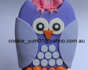 1 large edible OWL CUTE hoot cake decoration topper gumpaste sugarcraft CHRISTENING birthday wedding addiversary engagement bird