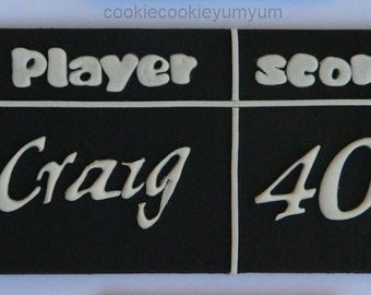 1 edible large PERSONALISED NAME PLAQUE scoreboard cake topper sport decoration age icing decoration wedding anniversary birthday engagement