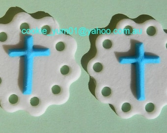 12 edible RELIGIOUS CROSS LACE discs cupcake cake topper decorations wedding anniversary birthday engagement baby shower christening baptism