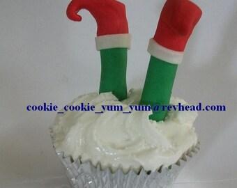 12 edible 3D CHRISTMAS ELF Legs novelty santa helper cute xmas tree ornament cake decoration pop cupcake topper party snow holiday cookie