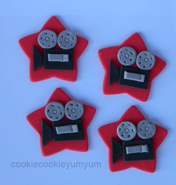 12 Edible MOVIE CAMERA STARSfilm Cinema Cupcake Cookie