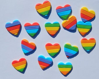 12 edible RAINBOW HEARTS cake cupcake topper pride equality GAY wedding flag decoration party wedding anniversary engagement valentine