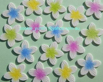 12 edible flat FRANGIPANI SUGAR FLOWERS tropical hawaiian cake cupcake toppers decorations party wedding anniversary birthday islands hawaii