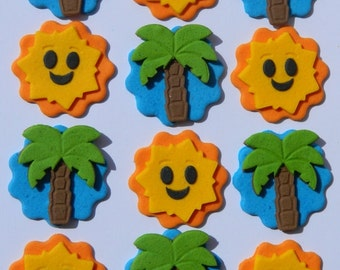 12 edible TROPICAL PALM & SUN disc cake decorations cupcake wedding topper decoration party wedding anniversary birthday engagement hawaii