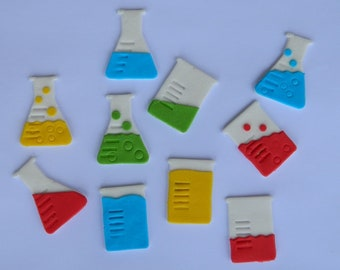 12 edible SCIENCE themed BEAKER FLASK mad scientist cupcake toppers decorations party wedding gay anniversary birthday bows christening