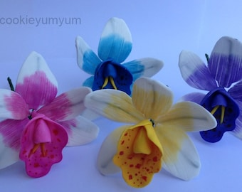 4 edible ORCHID SUGAR FLOWERS Cymbidium tropical hawaiian cake cupcake toppers decorations party wedding anniversary birthday islands hawaii