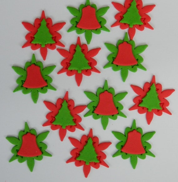 12 Edible Christmas Tree Bell Cake Cupcake Decoration Etsy