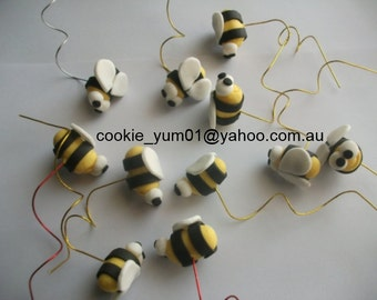 12 edible 3D BEES wired GARDEN Insect fairy bug cake cupcakes wedding topper decoration party wedding anniversary birthday valentine honey