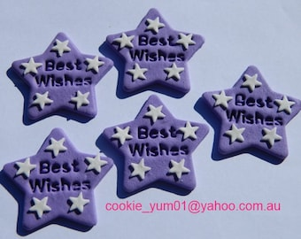 12 edible BEST WISHES STARS cake decorations cupcake wedding topper decoration party wedding anniversary birthday engagement valentine