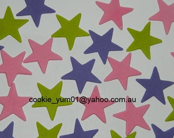 25 edible STARS 3cm icing cake cupcake wedding topper decoration party wedding anniversary birthday engagement